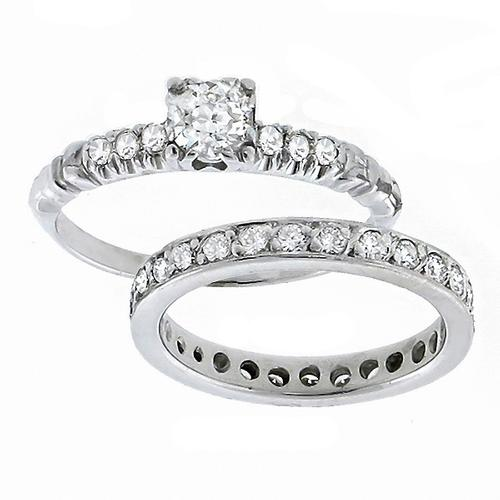 0.40ct Old Mine Diamond 14k White Gold Engagement   Ring & 0.75ct Round Cut  Diamond Eternity  14k White Gold Wedding Band Set
