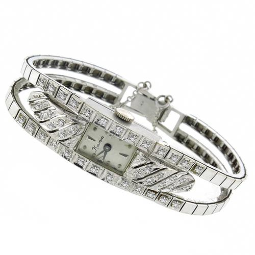 Art Deco 1.60ct Round Cut Diamond 14k White Gold Watch