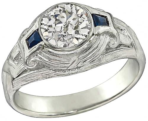 Vintage Old Mine Cut Diamond Sapphire Platinum Ring