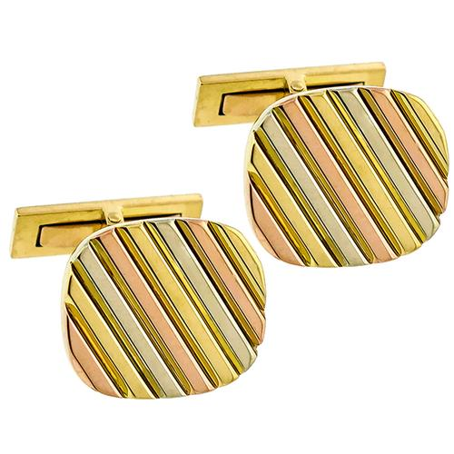 Vintage Tri Gold Pin Stripe Cufflinks