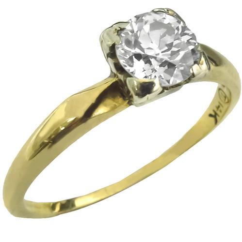 Vintage 0.70ct Round Brilliant Cut Diamond 14k Yellow and White Gold Engagement Ring