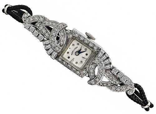 Baguette and Round Cut Diamond Platinum Hamilton Watch