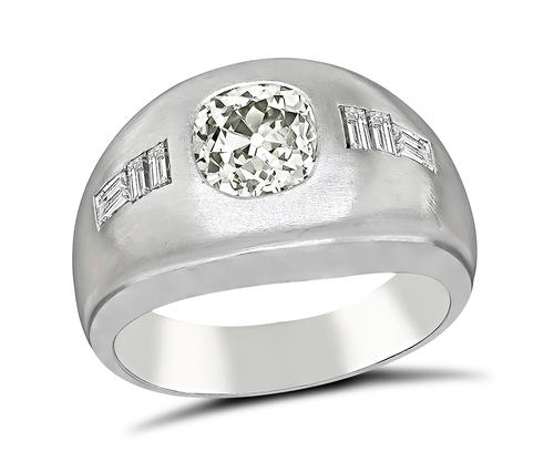 Cushion Cut Diamond 14k White Gold Men's Ring