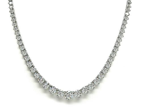 Round Cut Diamond 18k White Gold Tennis Necklace