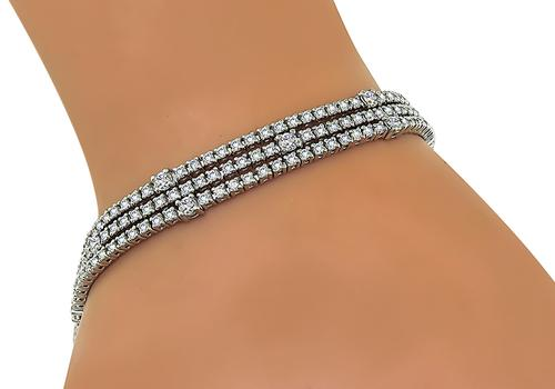 Round Cut Diamond 18k White Gold Bracelet