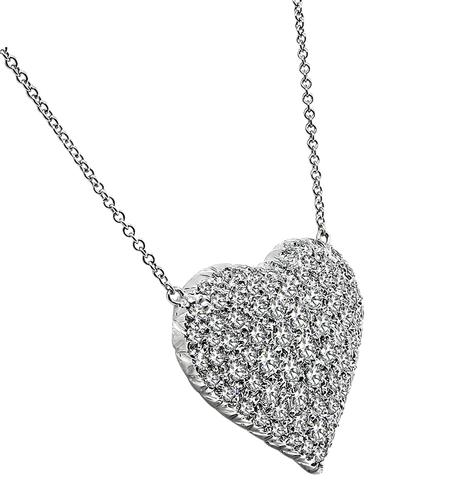 Round Cut Diamond 14k White Gold Heart Pendant Necklace
