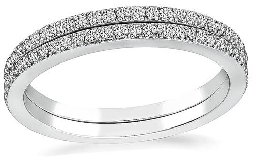 Round Cut Diamond 18k White Gold Wedding Band Set