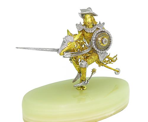 Round Cut Diamond 18k Yellow and White Gold Don Quijote Statuette / Pin