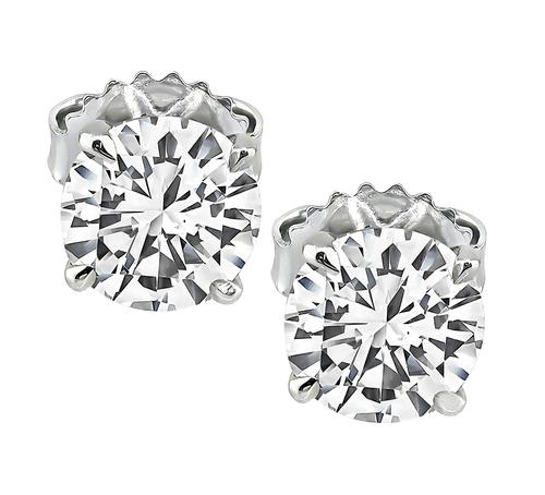 2.02cttw Round Cut Diamond 14k White Gold Studs Earrings