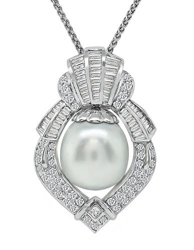 Baguette Princess and Round Cut Diamond South Sea Pearl 18k White Gold Pendant Necklace