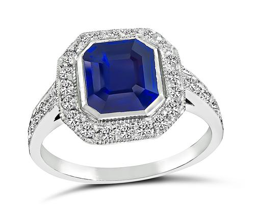 Emerald Cut Sapphire Round Cut Diamond Platinum Engagement Ring