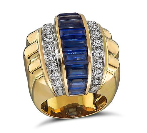 1940s Baguette Cut Sapphire Round Cut Diamond 18k Yellow and White Gold Ring