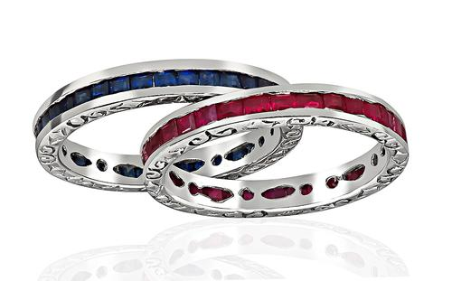 Square Cut Sapphire and Ruby 18k White Gold Eternity Wedding Band Set