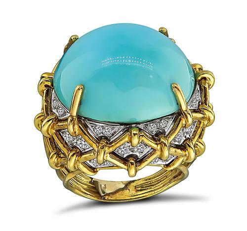 Vintage Cabochon Turquoise Round Cut Diamond 18k Yellow and White Gold Ring