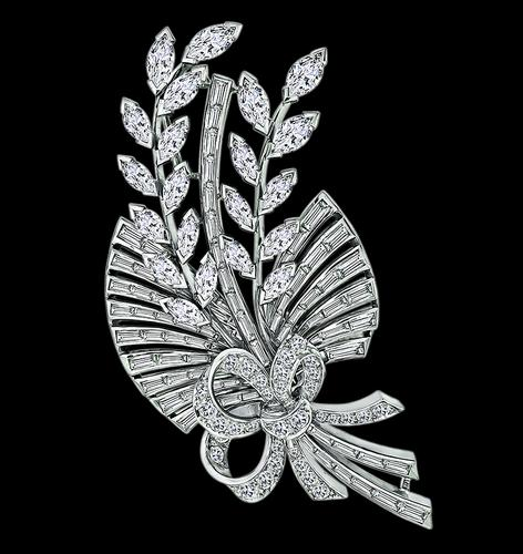 1950s Marquise Baguette and Round Cut Diamond Platinum Bouquet Pin
