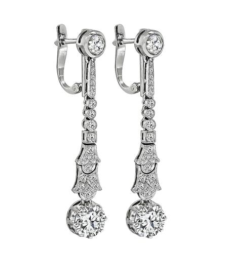 Art Deco Old European Cut Diamond Platinum Drop Earrings