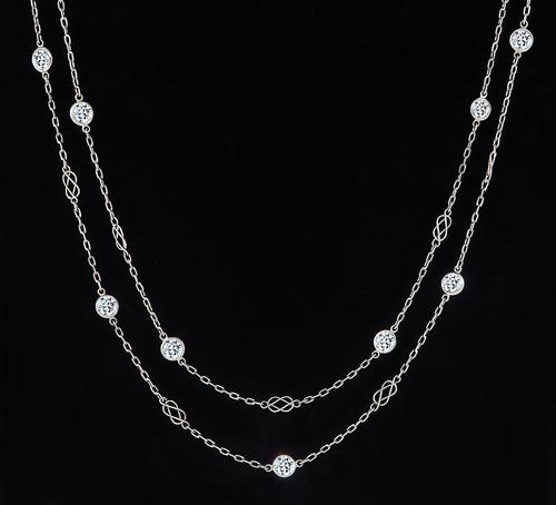Round Cut Diamond Platinum By The Yard Necklace