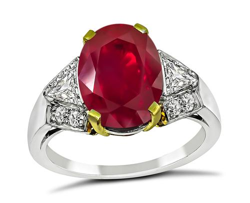 Vintage Oval Cut Burmese Ruby Diamond Platinum Engagement Ring