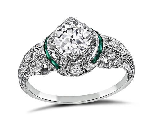 Vintage Old Mine Cut Diamond Emerald Platinum Engagement Ring