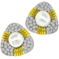 TRIO 5.00ct Diamond Pearl Gold Earrings