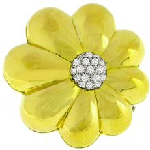 Diamond Gold Floral Pin  | Israel Rose