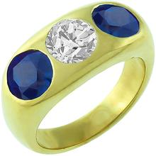 3 Stone 0.75ct Diamond 1.60ct Sapphire Gypsy Men's Ring 1