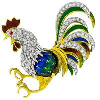1.50ct Diamond Enamel Gold Rooster Pin