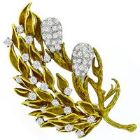 1960s 3.00ct Diamond Gold Floral Pin
