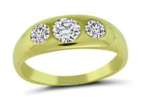 Estate 1.00ct Diamond Three Stone Gold Ring