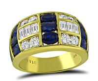 Estate 1.15ct Diamond 1.91ct Sapphire Gold Ring