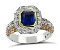 Estate 1.22ct Sapphire 0.50ct Pink and White Diamond Ring