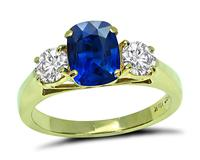 Estate 1.47ct Sapphire 0.55ct Diamond Gold Ring