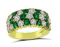 Estate 1.48ct Diamond 1.12ct Emerald Gold Ring