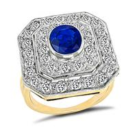 Art Deco 1.60ct Sapphire 1.75ct Diamond Ring