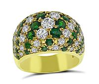Estate 1.43ct Diamond 1.80ct Emerald Gold Ring