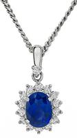 Estate 2.04ct Sapphire 0.36ct Diamond Pendant Necklace