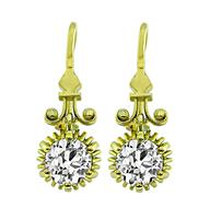 Vintage 2.46ct Diamond Gold Dangling Earrings