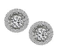 Estate 2.50ct Center Diamond 1.50ct Side Diamond Earrings