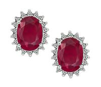 Estate 3.50ct Burmese Ruby 0.70ct Diamond Earrings