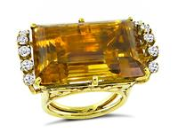 Vintage 30.00ct Citrine 0.90ct Diamond Gold Cocktail Ring