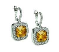 Estate 10.00ct Citrine 1.40ct Diamond Earrings