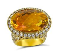 Estate 20.00ct Citrine 3.00ct Diamond Ring