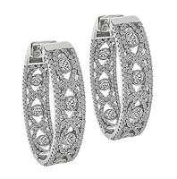 Estate 3.25ct Diamond Hoops Earrings