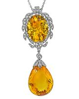 Estate 45.35ct Citrine 0.58ct Diamond Pendant