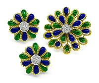 Estate Enamel 0.60ct Diamond Pin and Earrings Set