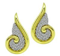 Estate 3.75ct Diamond Gold Earrings