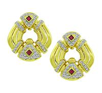 Estate Diamond Ruby Gold Earrings