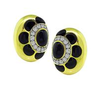 Estate 1.50ct Diamond Onyx Gold Earrings