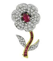 Estate 2.00ct Diamond 2.00ct Ruby Gold Flower Pin