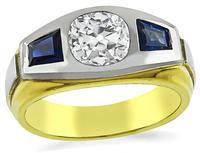 Estate 1.15ct Diamond Sapphire Ring